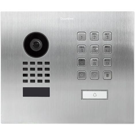 Doorbird - D1101KH MFM EAU SALEE - Portier vidéo IP avec 1 bouton d'appel porte-étiquette et clavier à code - Encastrable - Argent
