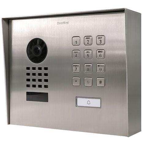 Doorbird - D1101KH MSM EAU SALEE - Portier vidéo IP avec 1 bouton d'appel porte-étiquette et clavier à code - Montage saillie - Argent
