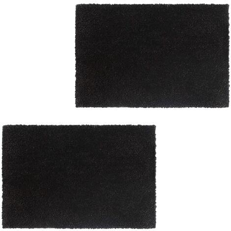 Doormats 2 pcs Coir 17 mm 50x80 cm Black - Black