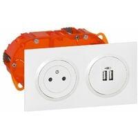 Dooxie Kit Double USB + 2P+T précâblés encastre Blanc - Legrand