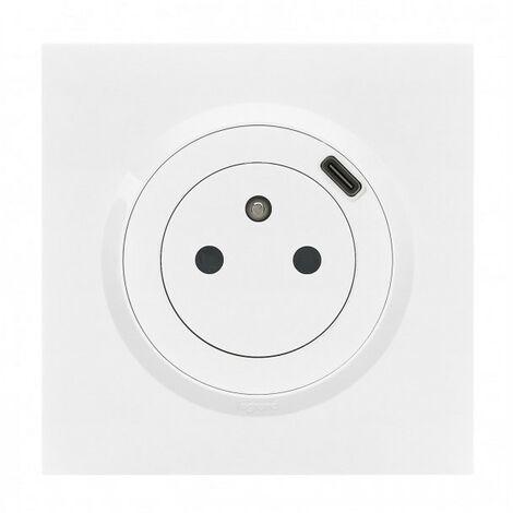 Dooxie prise de courant + chargeur usbx1 type c 1 poste complet blanc (095016)