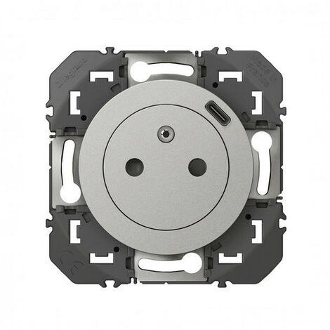 Dooxie prise de courant + chargeur usbx1 type c 1 poste composable alu (095250)