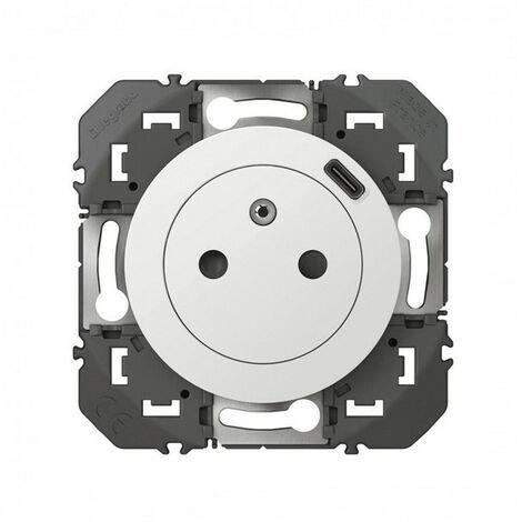 Dooxie prise de courant + chargeur usbx1 type c 1 poste composable blanc (095220)