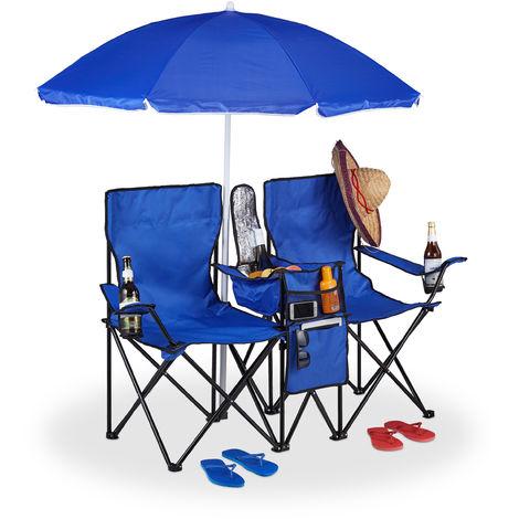Doppel Campingstuhl, faltbarer Doppel Klappstuhl mit Sonnenschirm, Kühltasche, 2 Fächer, Getränkehalter, blau