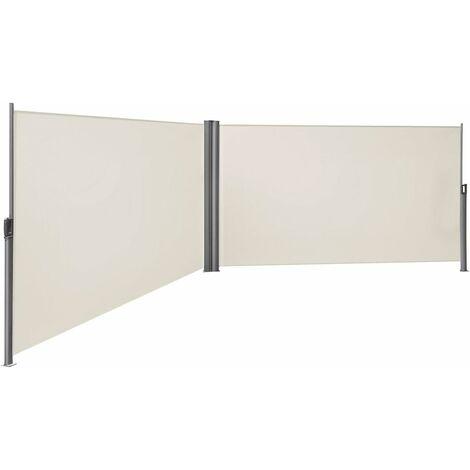 Doppel Seitenmarkise 160 x 600cm TÜV SÜD zertifiziert verdickter Polyester 280g/m² Beige/Rauchgrau