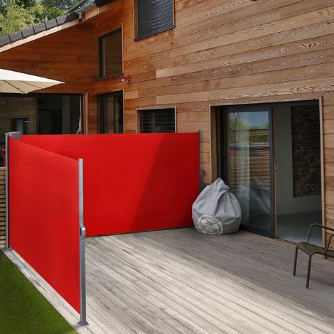 Doppel Seitenmarkise 160x600 Windschutz Sichtschutz Sonnenschutz Seitenrollo