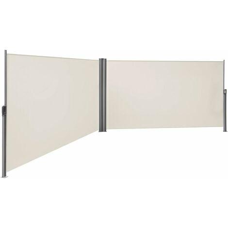Doppel Seitenmarkise 180 x 600cm TÜV SÜD zertifiziert verdickter Polyester 280g/m² Beige/Rauchgrau