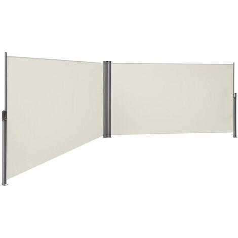 Doppel Seitenmarkise Seitenrollo 200 x 600cm Markisenstoff aus Polyester 280g/m² Beige/Rauchgrau