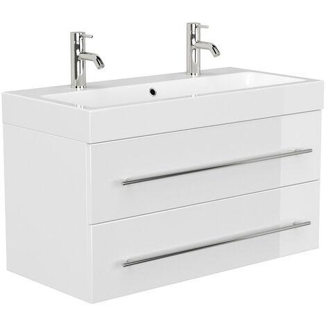 Doppel-Waschtisch 100cm in weiß Hochglanz LISSABON-02 - B/H/T: 100,6/60/48,1cm