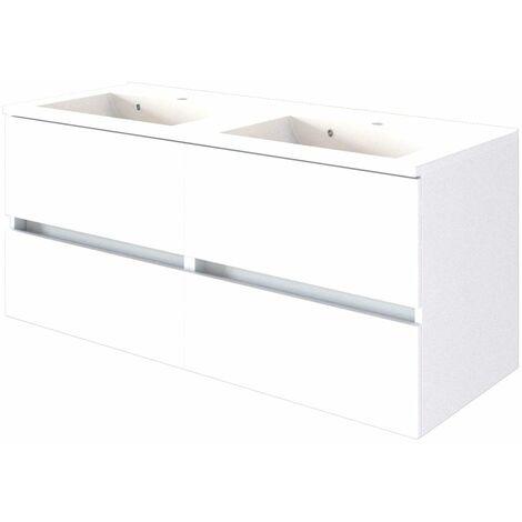 Doppel Waschtisch-Unterschrank inkl. Waschbecken 120 ARLON-03 matt weiß BxHxT 120x56x47 cm