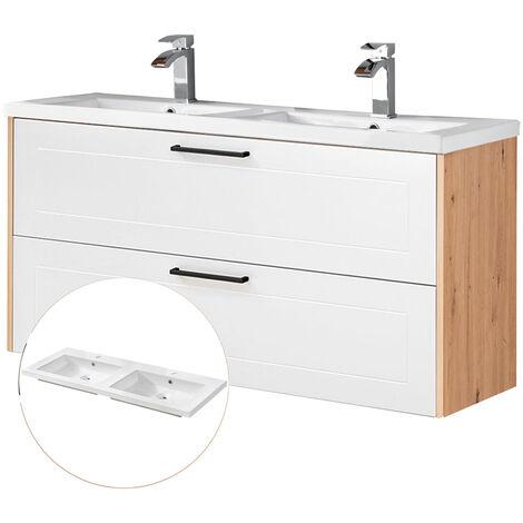 Doppel-Waschtischunterschrank 120cm mit Keramikbecken MATERA-56-WHITE matt weiß, Artisan Eiche, B/H/T ca. 121/65/ 46 cm
