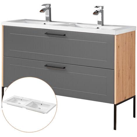 Doppel-Waschtischunterschrank 120cm mit Keramikbecken und Metallfußgestell MATERA-56 matt grau, Artisan Eiche, B/H/T ca. 121/85/46 cm