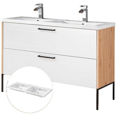 Doppel-Waschtischunterschrank 120cm mit Keramikbecken und Metallfußgestell MATERA-56-WHITE matt weiß, Artisan Eiche, B/H/T ca. 121/85/46 cm