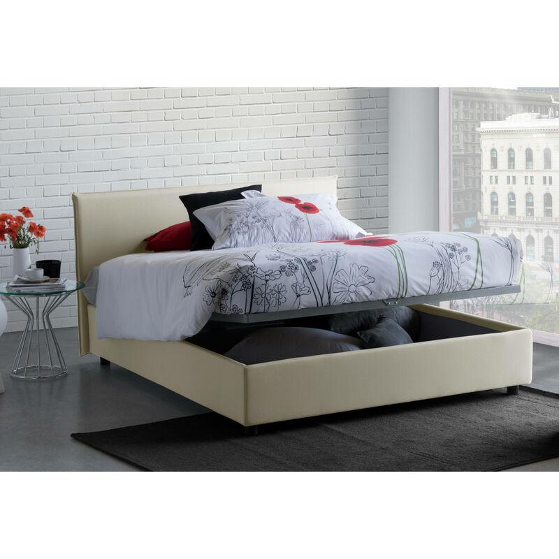 Doppelbett Anna mit herausnehmbarem Bettkasten Hergestellt in Italien. Creme, LÄNGE 190 - TALAMO ITALIA