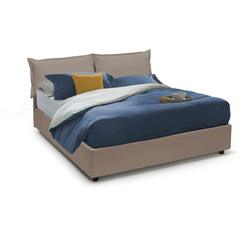 Calotta Doppelbett seitlicher Bettkasten, Weiß, Struktur: Holz / Beschichtung: Kunstleder / Öffnungsmechanismus: Eisen, Taubenblau, 160 x 190
