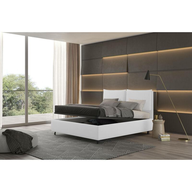 Doppelbett mit doppeltem Bettkasten, Bach Weiß, Öko-Leder - TALAMO ITALIA