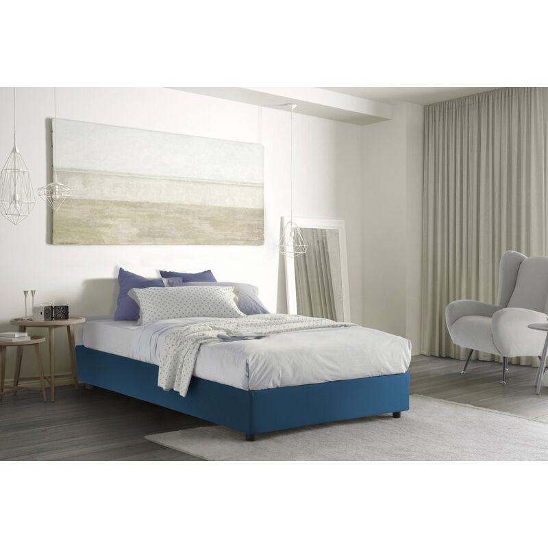Doppelbett mit herausnehmbarem Bettkasten Silvia Sommier. Hergestellt in Italien Blau, LÄNGE 190 - TALAMO ITALIA