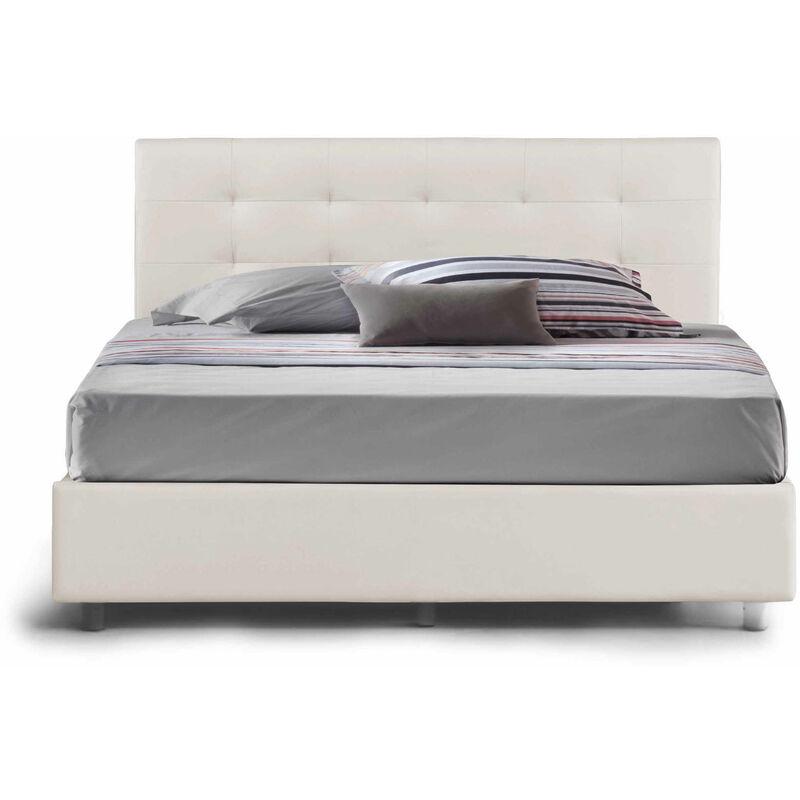 Talamo Italia - Doppelbett Star mit platzsparendem Bettkasten aus weißem Öko-Leder und Knopf-Nähten. Hergestellt in Italien
