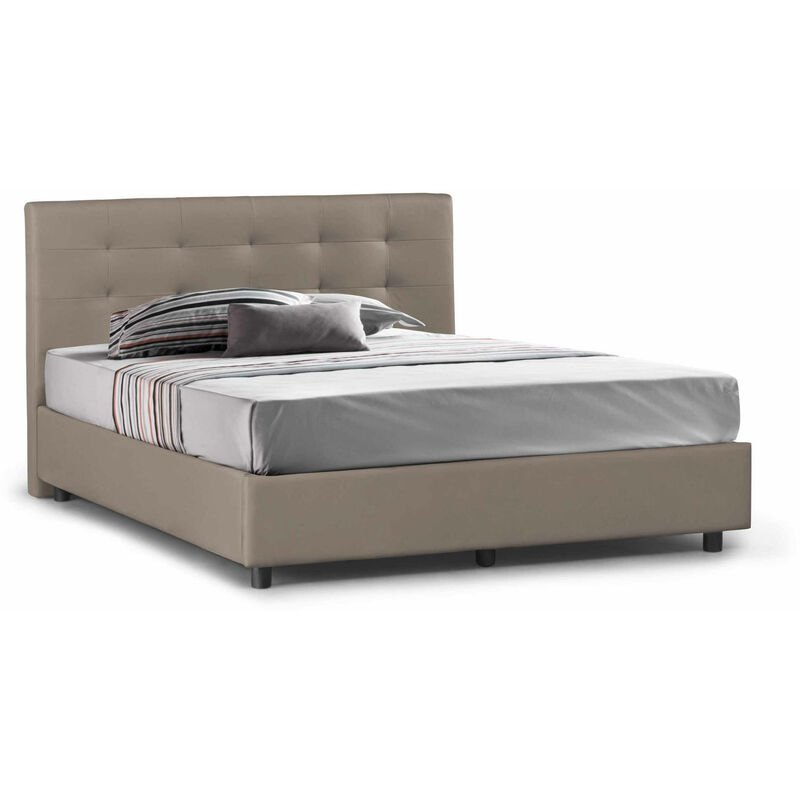 Doppelbett Stern mit platzsparendem Bettkasten aus taubengrauem Öko-Leder und Knopf-Nähten. Hergestellt in Italien - TALAMO ITALIA