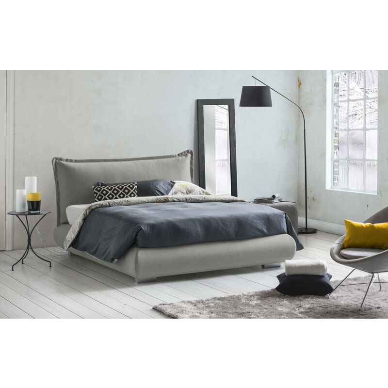Doppelbett Tania, mit herausnehmbarem Bettkasten, hergestellt in Italien Grau - TALAMO ITALIA