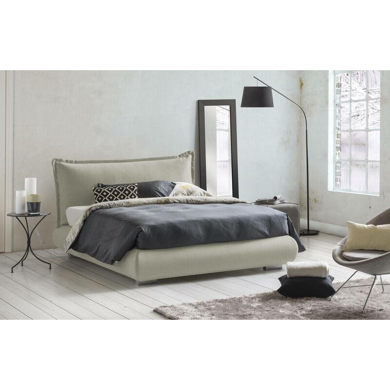 Doppelbett Tania mit herausnehmbarem Bettkasten, hergestellt in Italien Creme - TALAMO ITALIA