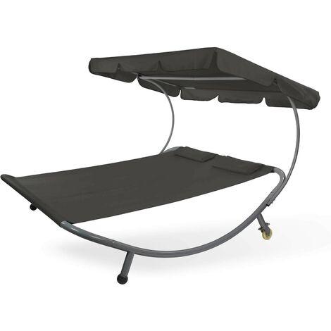 Doppelliege Gartenliege Relaxliege Freizeitliege Palma Schwarz mit Sonnendach