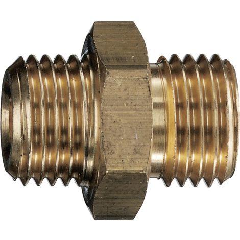 Doppelnippel kurz G 3/8 x G 1/2, Messing mit Konus 45 Grad EN 560 10x13mm