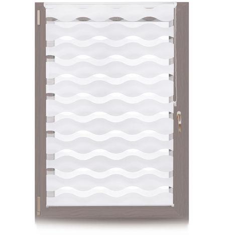 Doppelrollo Klemmfix, ohne Bohren, Blickschutzgrad variierbar, Gesamt: 100 x 150 cm, Stoffbreite 96 cm, weiß