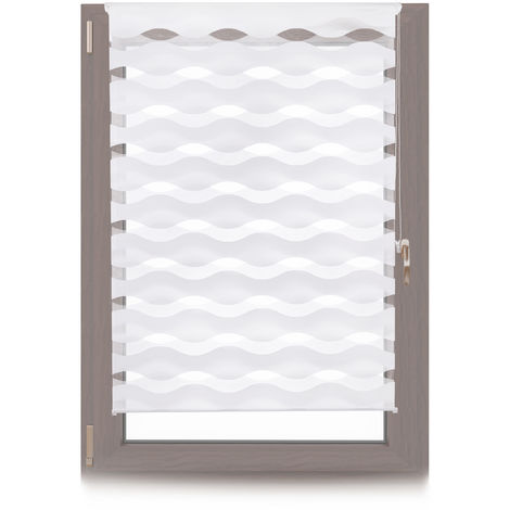 Doppelrollo Klemmfix, ohne Bohren, Blickschutzgrad variierbar, Gesamt: 110 x 150 cm, Stoffbreite 106 cm, weiß