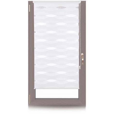 Doppelrollo Klemmfix, ohne Bohren, Blickschutzgrad variierbar, Gesamt: 60 x 150 cm, Stoffbreite 56 cm, weiß