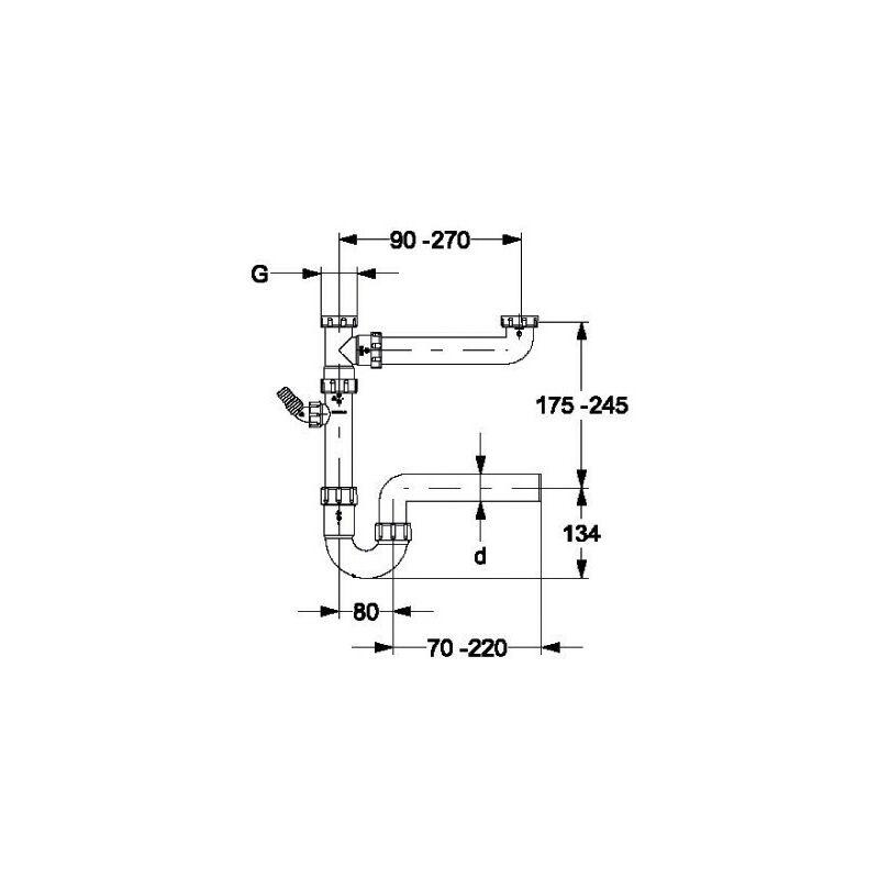"""Doppelsiphon 1 1//2/"""" x DN50 Doppelsifon Doppelablauf zweifach Abfluß Doppelspüle"""