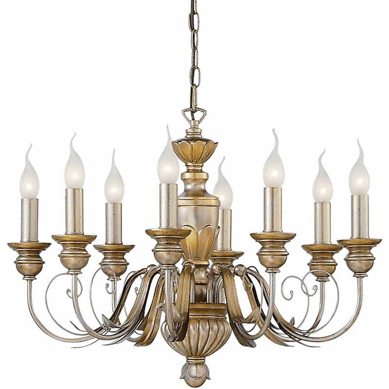 01-ideal Lux - DORA antike goldene Pendelleuchte 8 Glühbirnen