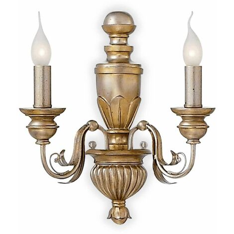 DORA antique gold wall light 2 bulbs