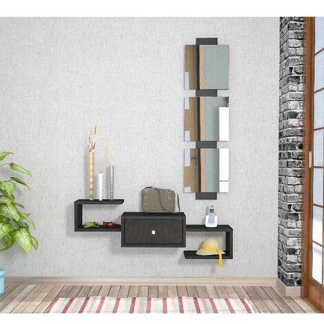 Dorado Hall Unit - with Mirror, Drawer, Shelves - Glossy Black, made in Wood, 100 x 30 x 19 cm