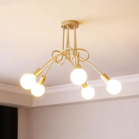 Dorado Lampara de Techo Vintage 5 Lámpara de Hierro Metal Iluminación Lámpara Industrial E27 DIY para Salón Retro de Comedor Hotel