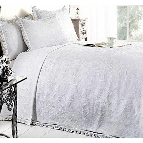 Dorchester Mafalda Bedspread Portuguese Style Throw Soft Cotton Rich Bedding, White, King
