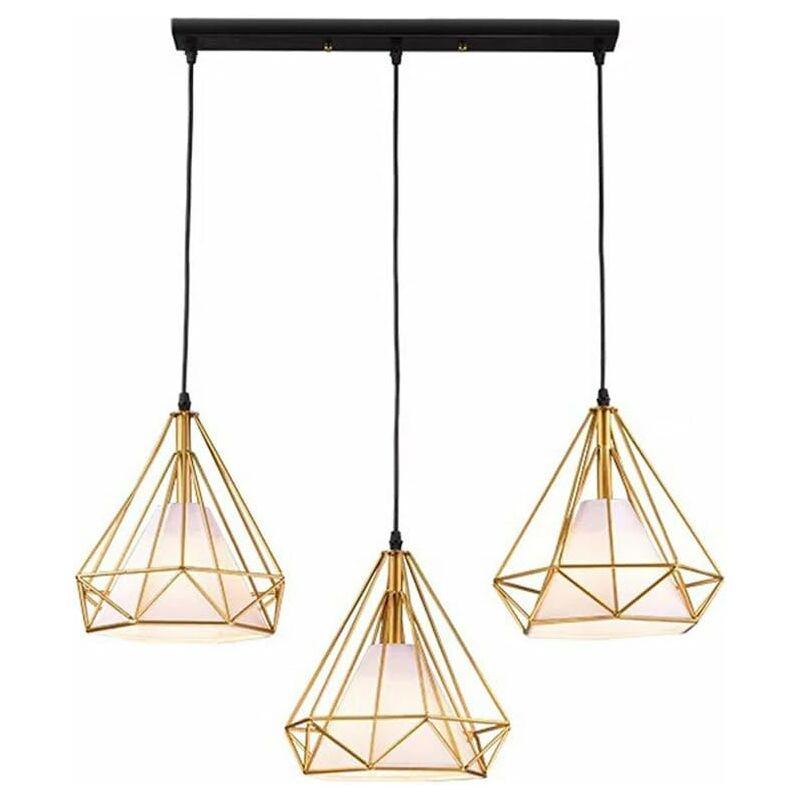 Chambre Doré Suspension Lustre Bar Rétro Luminaire Cage Salon Filaire Diamant Jour Pour Industrielle De 3 Cuisine Abat Forme 8nwkO0XP