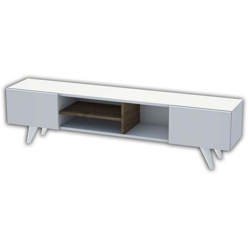 Homemania TV-Schrank Dore 160x29,7x40,6 cm Weiß und Walnuss
