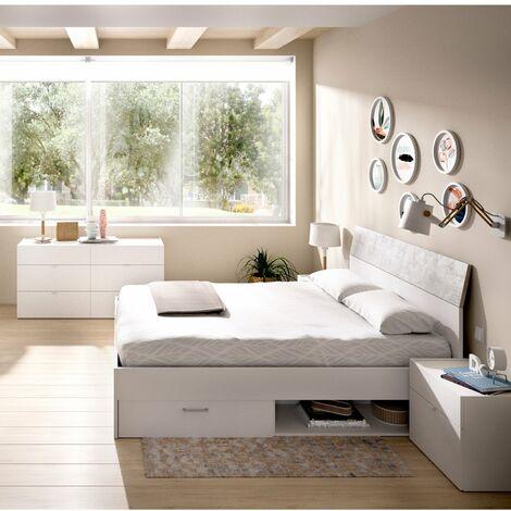 Dormitorio completo, CÓMODA con cama cajones + CABEZAL y MESITAS de noche incluidas, acabado Blanco combinado Gris Cemento