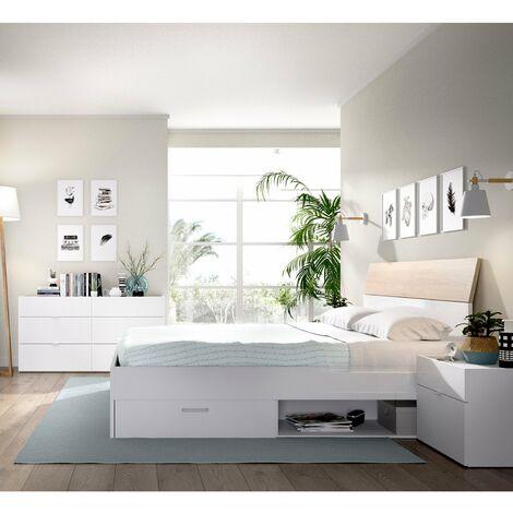 Dormitorio completo, Cómoda con cama cajones + cabezal y mesitas de noche incluidas, acabado Blanco combinado Natural