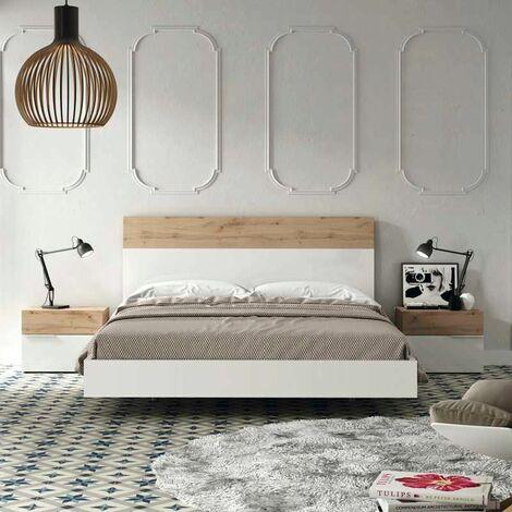 Dormitorio de matrimonio con bañera lacado blanco alto brillo y roble hércules+ 2 mesitas modelo BASAURI