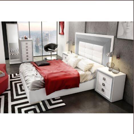 Dormitorio de matrimonio en blanco y gris plata incluye cabezal, mesitas sifonier y espejo Color Blanco/Gris