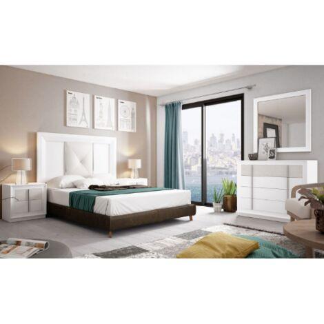 Dormitorio de matrimonio en varios colores incluye cabezal, mesitas cómoda y espejo
