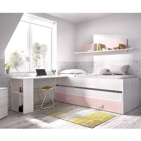 Dormitorio Infantil Cama Nido con gran cajon y estante INCLUIDO ESCRITORIO