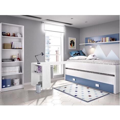 Dormitorio Infantil Cama Nido gran cajon + estante INCLUIDO ESCRITORIO