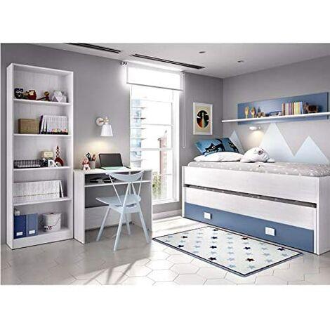 Dormitorio Juvenil Completo Cama Nido 2 cajones + Estante + estantería 6 baldas + Mesa Escritorio