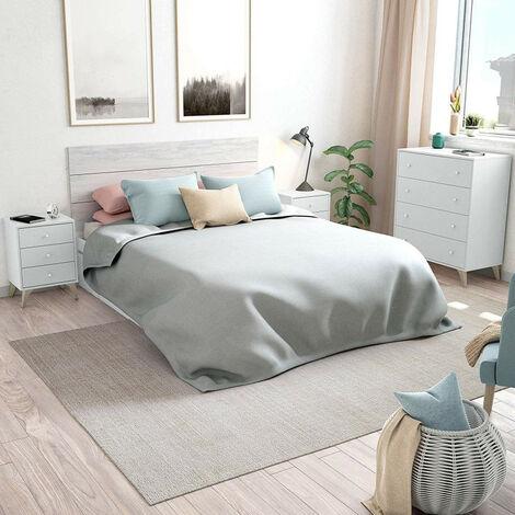 Dormitorio Sweet -cabezal + Dos Mesitas + Comoda, Valido Para Camas De 135,140,150 Y 160 Cm. Acabado Color Artik Y Blanco.