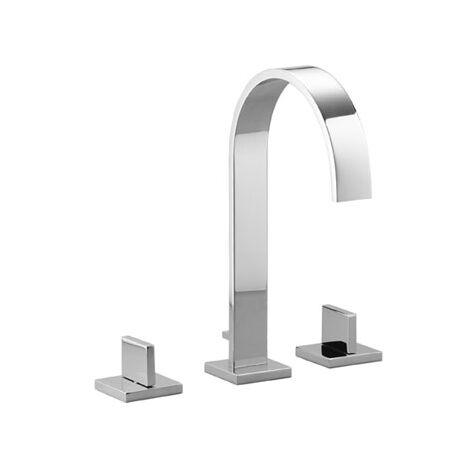 Dornbracht MEM Mezclador de lavabo de tres agujeros con rosetas simples, con desagüe automático, proyección 165 mm, 20713782, color: Platino oscuro mate - 20713782-99