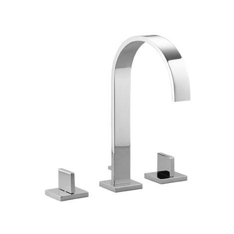 Dornbracht MEM Mezclador de lavabo de tres agujeros con rosetas simples, con desagüe automático, proyección de 200 mm, 20715782, color: Platino oscuro mate - 20715782-99