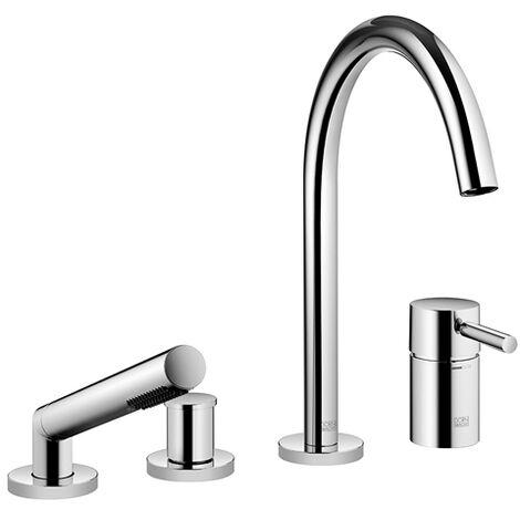 Dornbracht Meta mezclador de cuatro agujeros para instalación en el borde de la bañera o en el borde del azulejo 27632661, proyección 221 mm, color: Negro Mate - 27632661-33